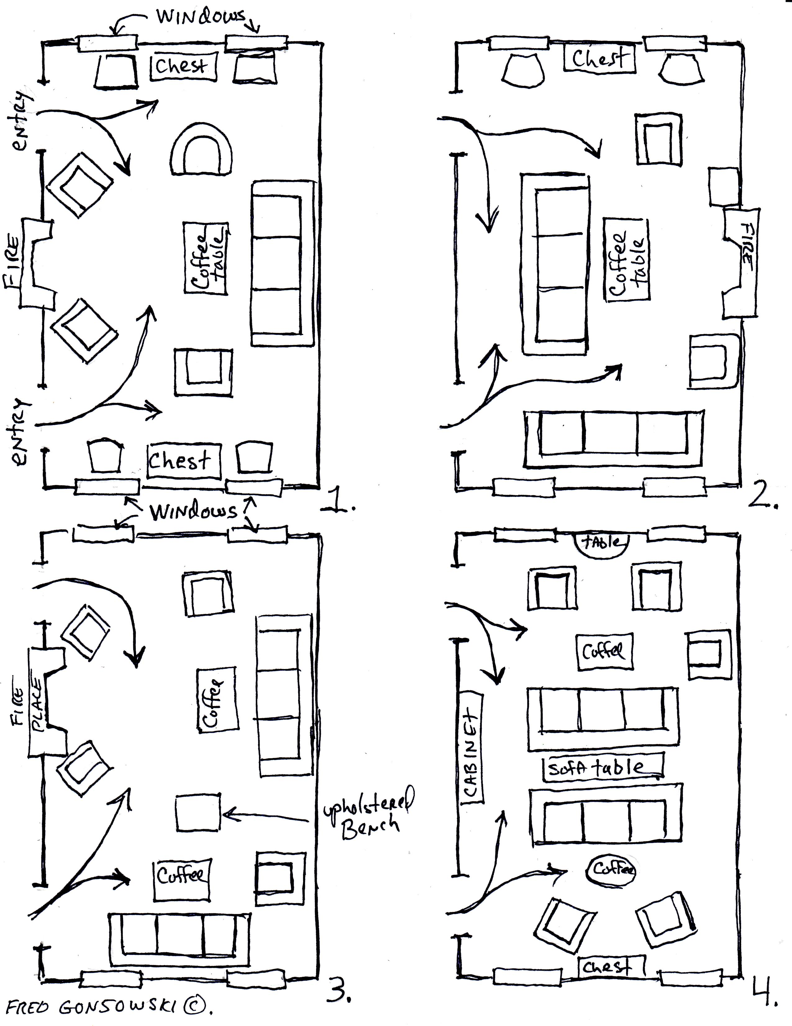 Arranging furniture twelve different ways in the same room for 11x11 room layout
