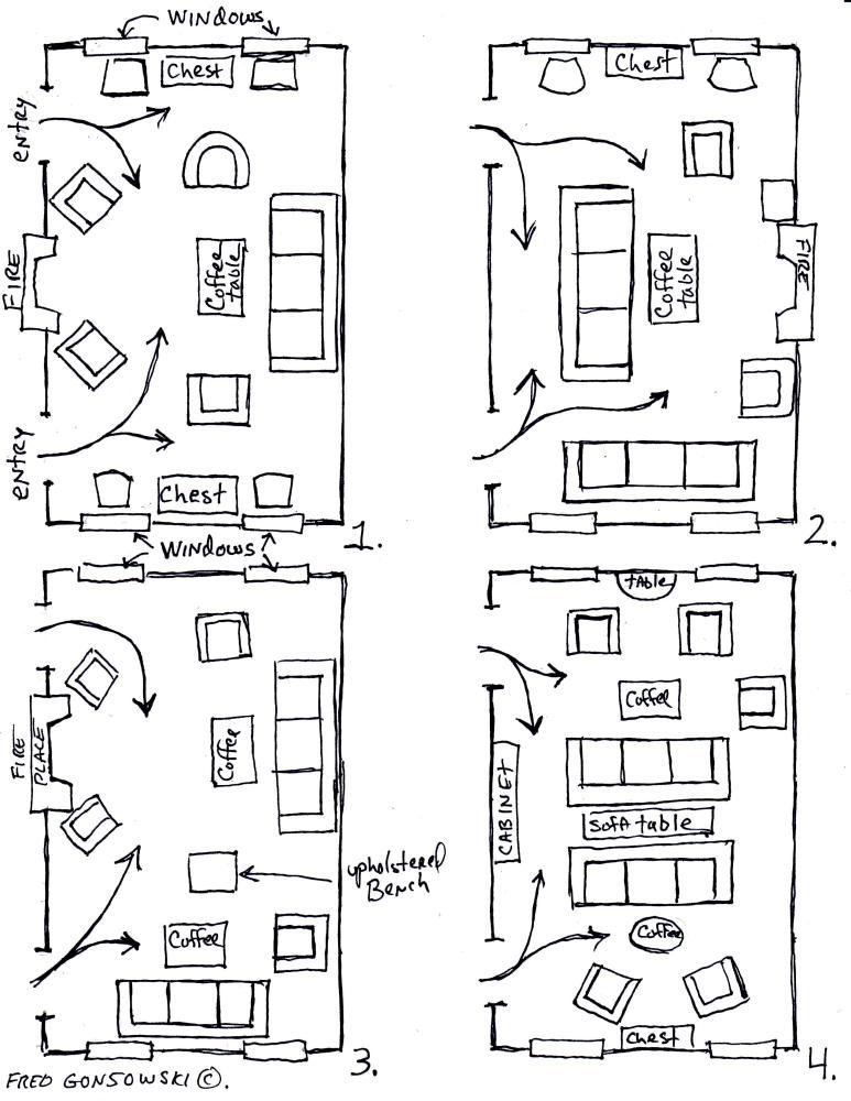 Arranging furniture TWELVE different ways in the Same Room (2/4)
