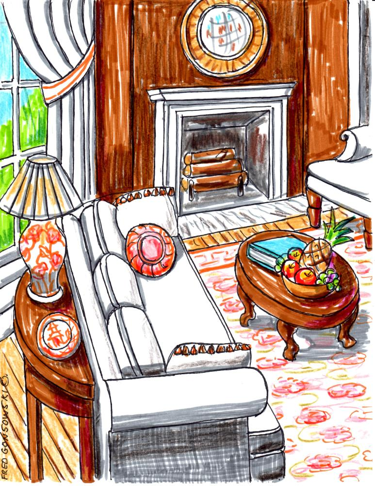 Arranging Furniture around a Fireplace in the Corner of a Room (1/4)
