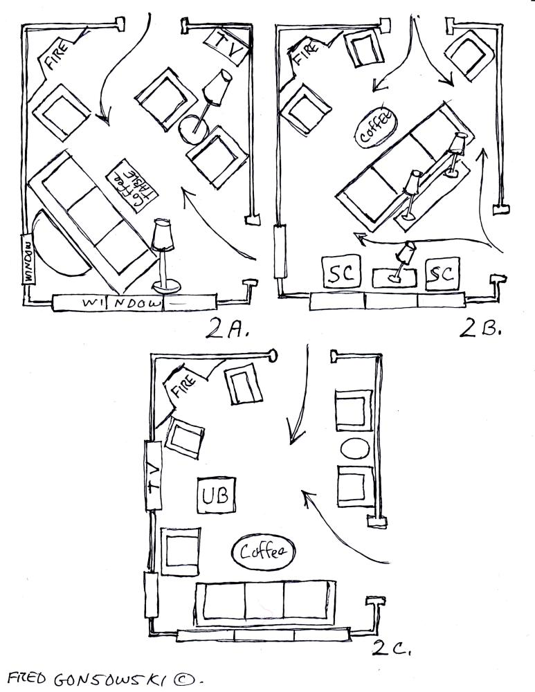Arranging Furniture around a Fireplace in the Corner of a Room (3/4)