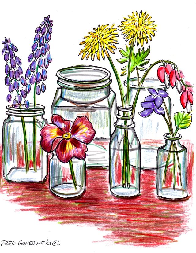 Display that perfect single flower head, or just a few buds in small clear glass bottles