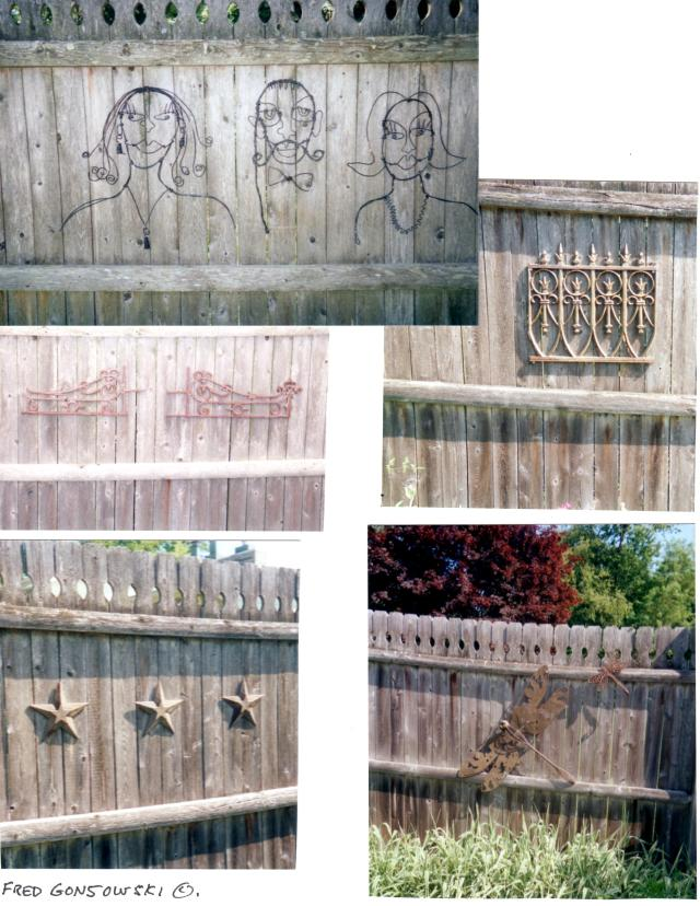 If you have a wooden fence like I do, or possibly a brick or stone wall, think of it like walls in your house, and hang up assorted metal or wood items to add visual interest.