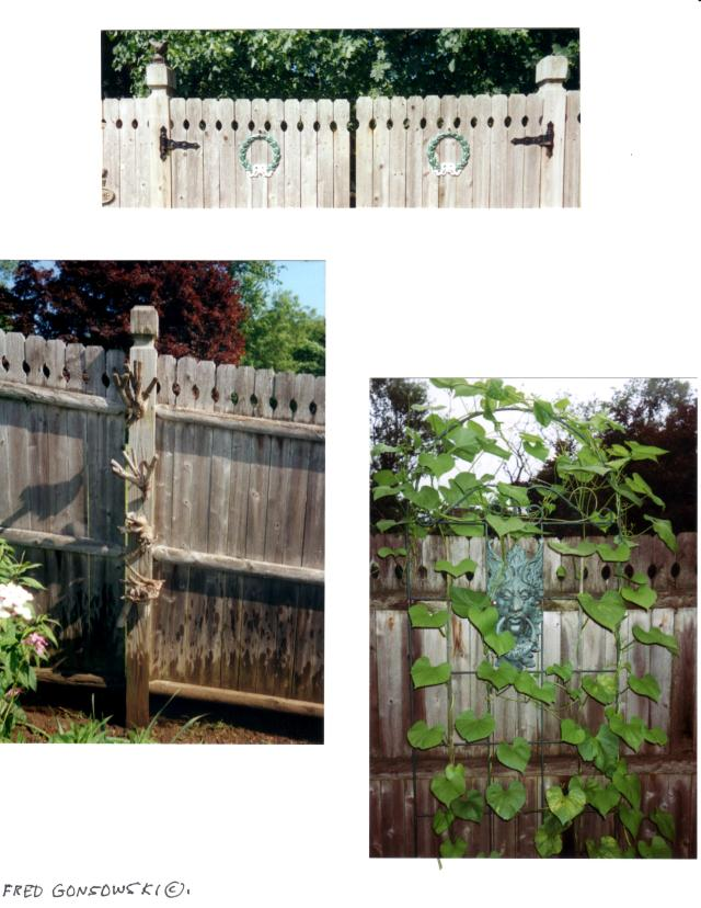 Metal decorations are inexpensive and easy to collect, but look at the photo on the left.  It is a collection of roots wired together and hung on a fence post.  Soo organic, and Soo inexpensive.  o