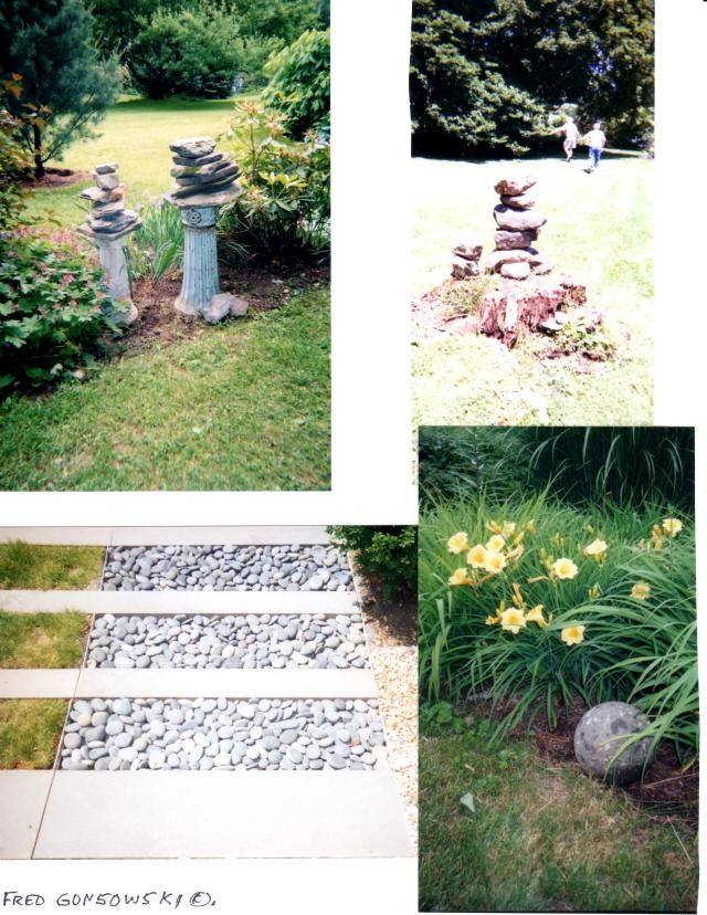 Stone is an important texture in a garden.  Notice in the top left photo how stacked stones are balanced on the tops of two antique cast iron bird bath stands.  The photo on the bottom right shows a stone sphere, which to me is a gardening must have.