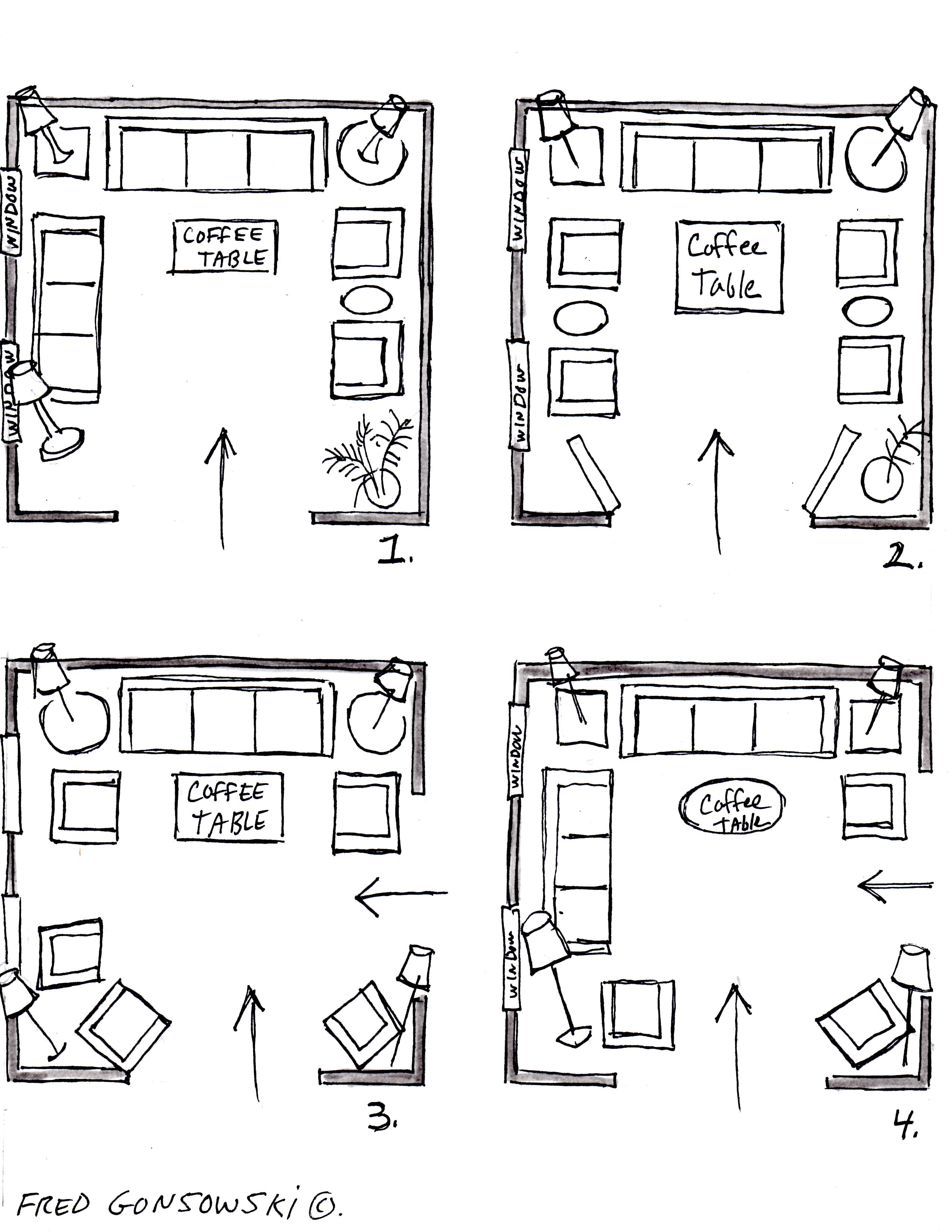 It s easy to arrange furniture in a square living room for Furniture templates for room design