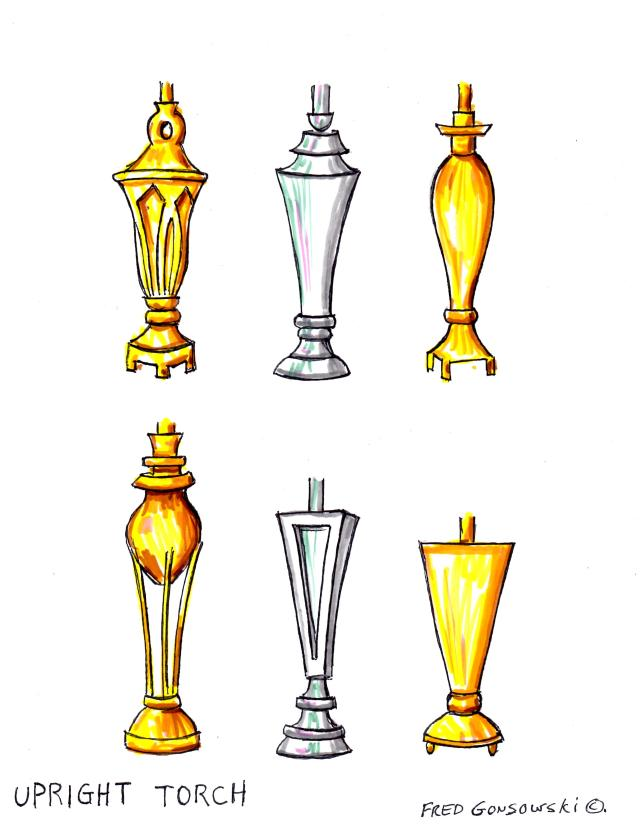 Upright Torch styled Lamp Bases