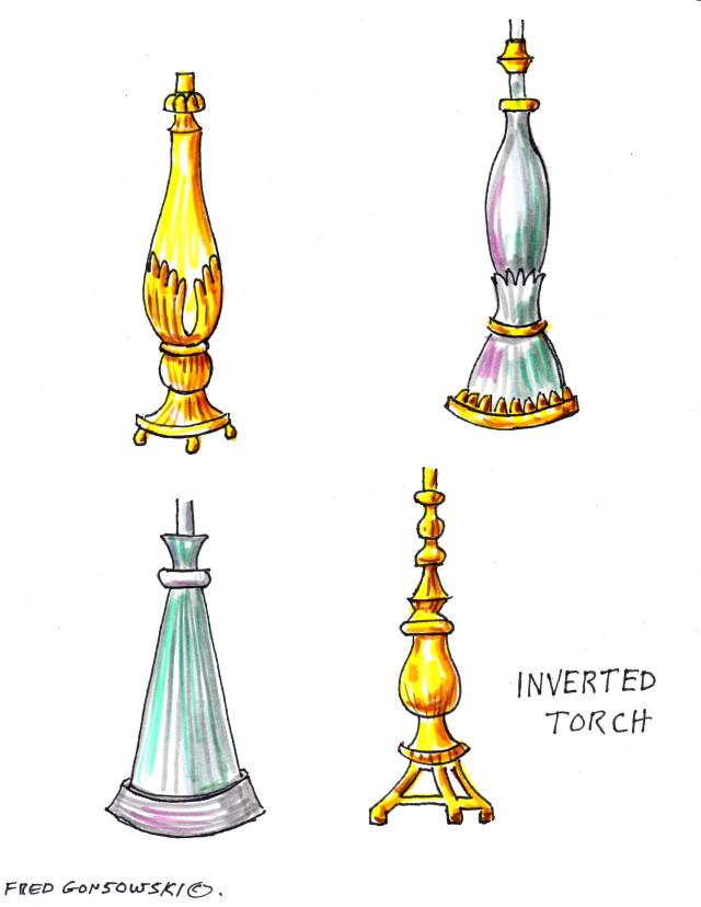 Inverted Torch styled Lamp Bases