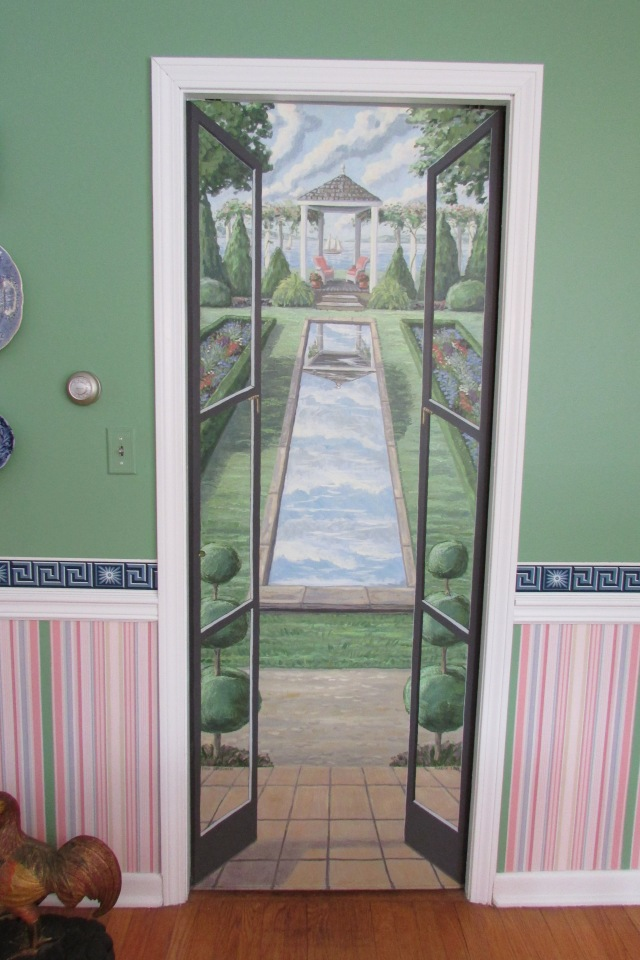 A pocket door in the Dining Room