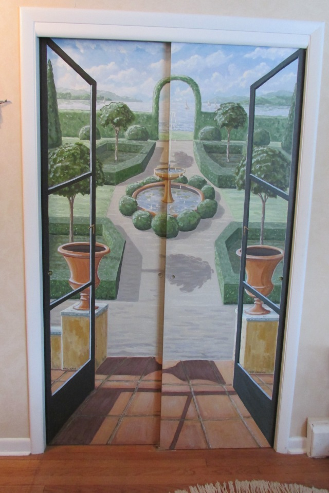 Hand Painted Trompe l'oeil Doors add visual interest to my Home