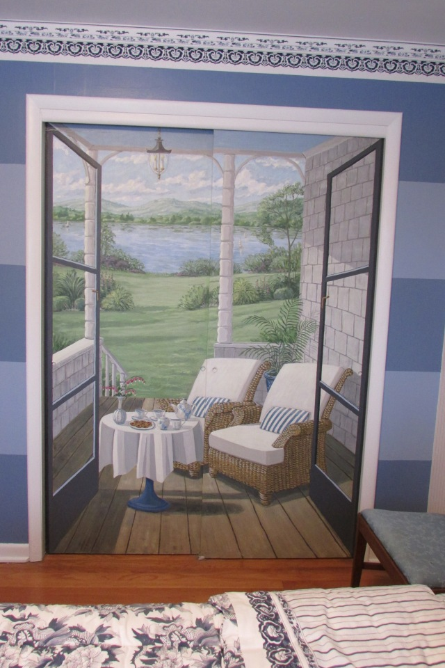 A mural painted on the closet doors of my guest bedroom