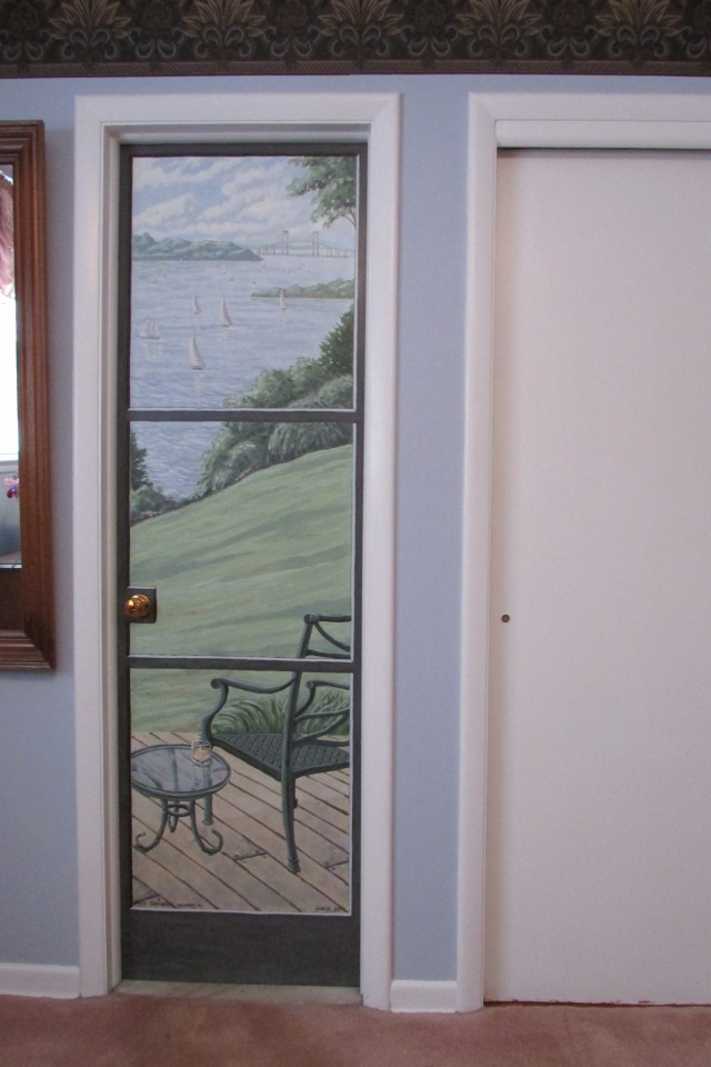 A mural on the door to my bathroom