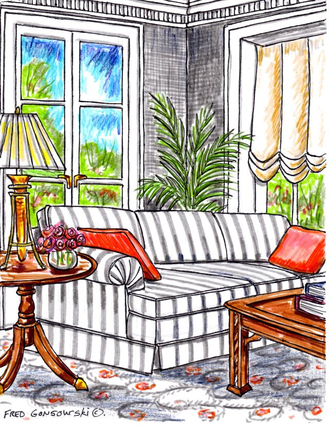 The color Gray, one of the most popular interior decorating trends of the moment, you see it on everything from paint, fabric, carpeting and on painted wood furniture.
