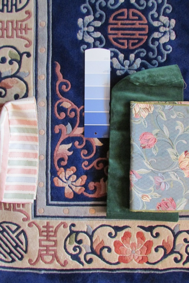 Tones of Blue pulled from the background color of a Patterned Rug