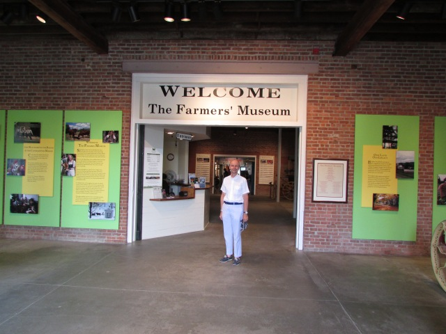 Here I am at the entrance to the Farmers' Museum: the Colonial Revival Styled Barn designed by Frank Whiting