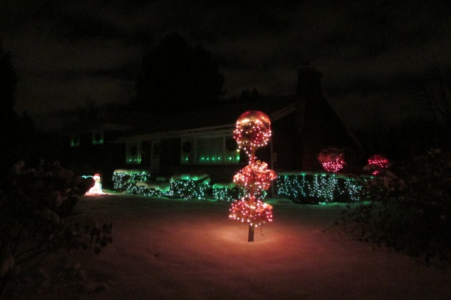 The Christmas light display, here at Whimsey Hill House, 2014
