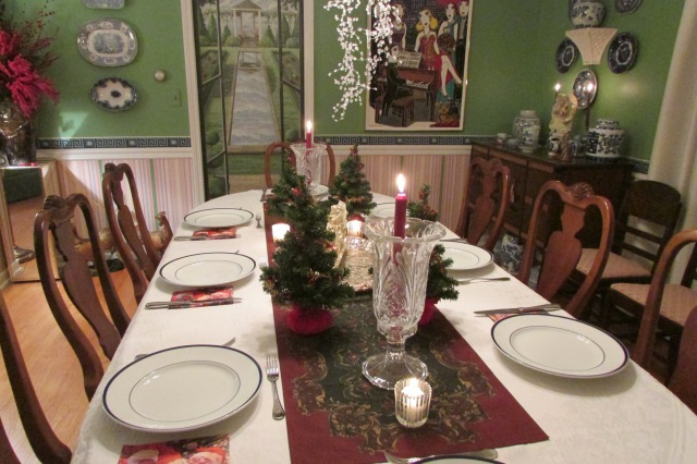The dining table set for a holiday meal.
