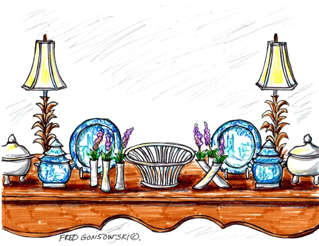 Arranging Decorative Accessories on a Sofa Table and other  pieces of furniture.