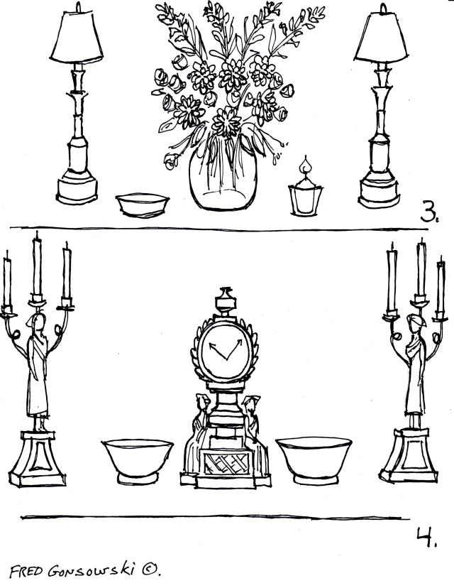 Making a tablescape with a tall and substantial center element with medium height and delicate sides pieces.