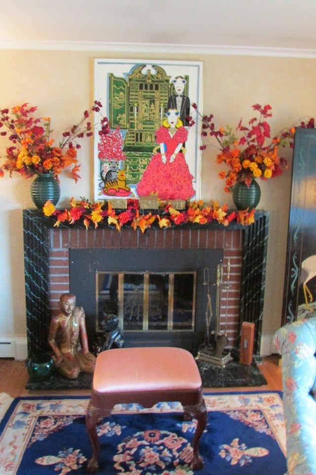 The fireplace decorated for Autumn.