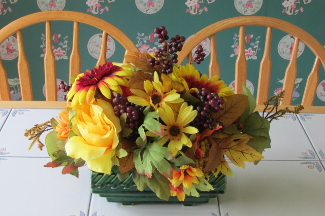 A flower arrangement for the kitchen table.