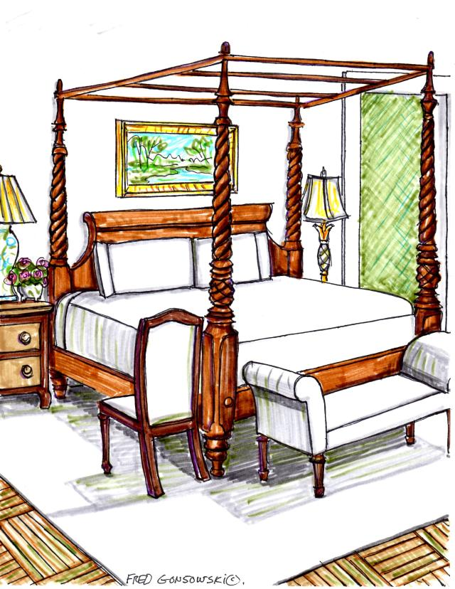 Sixteen possible ways of arranging bedroom furniture in a large bedroom.