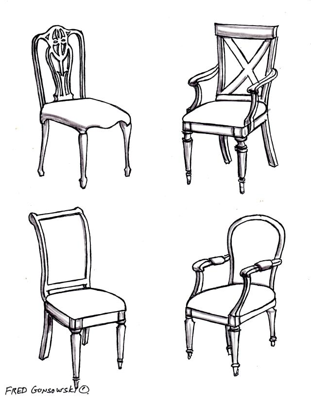 Examples of side chairs / occasional chairs that would be used in a bedroom.
