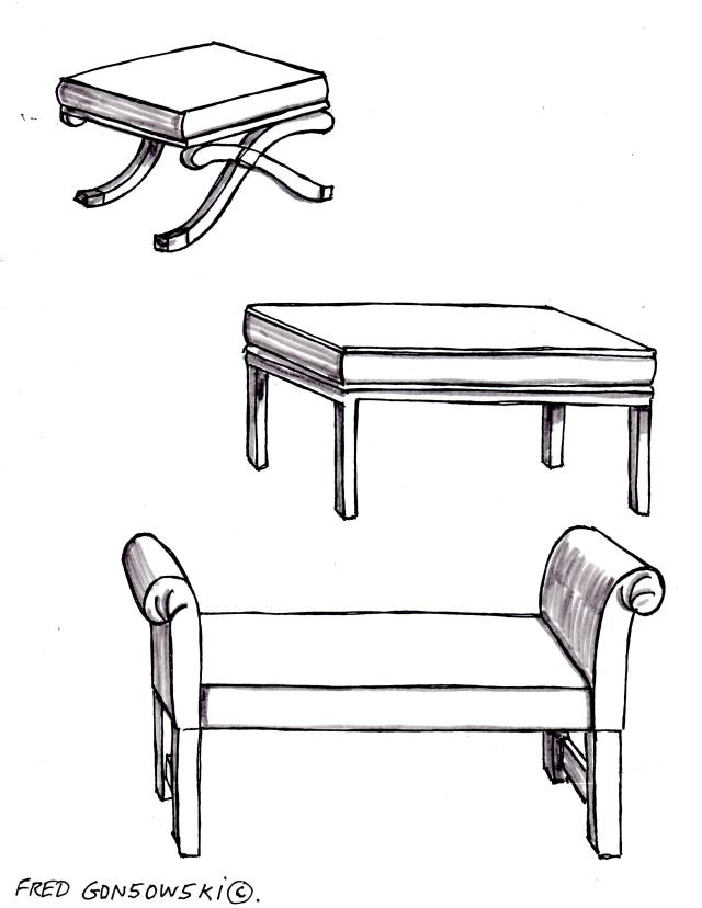 Three different styles of benches that could be used at the foot of a bed.