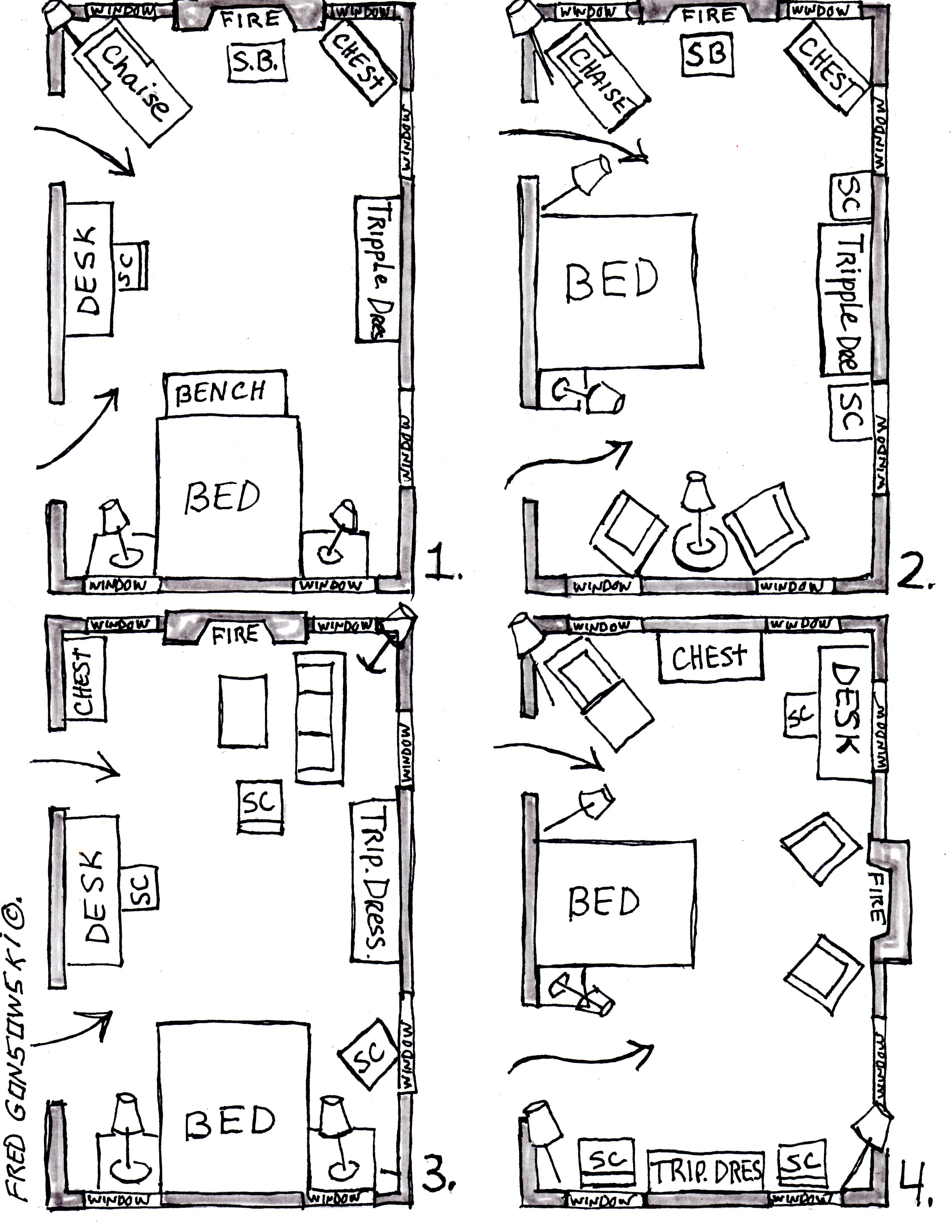 Arranging furniture in a 15 foot wide by 25 foot long - Small bedroom furniture arrangement ...