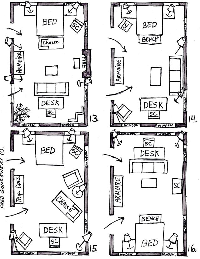 Arranging furniture in a 15 foot wide by 25 foot long for Furniture layout 10x10 bedroom