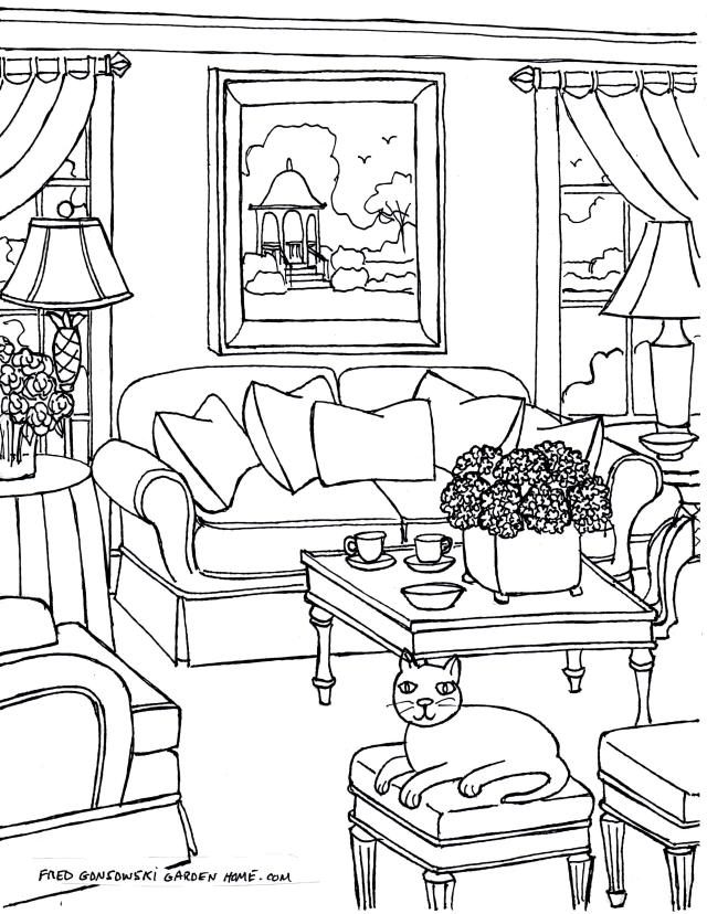 Some Fred Gonsowski drawings of Living Rooms for Adults to download, print and then color.
