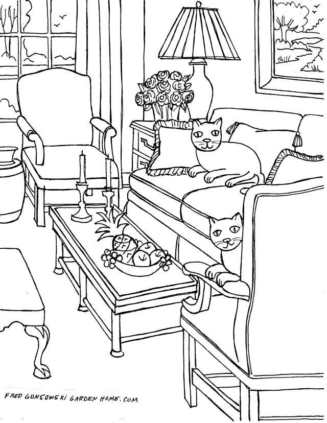 Coloring pages for Adults… Some Drawings of Living Rooms