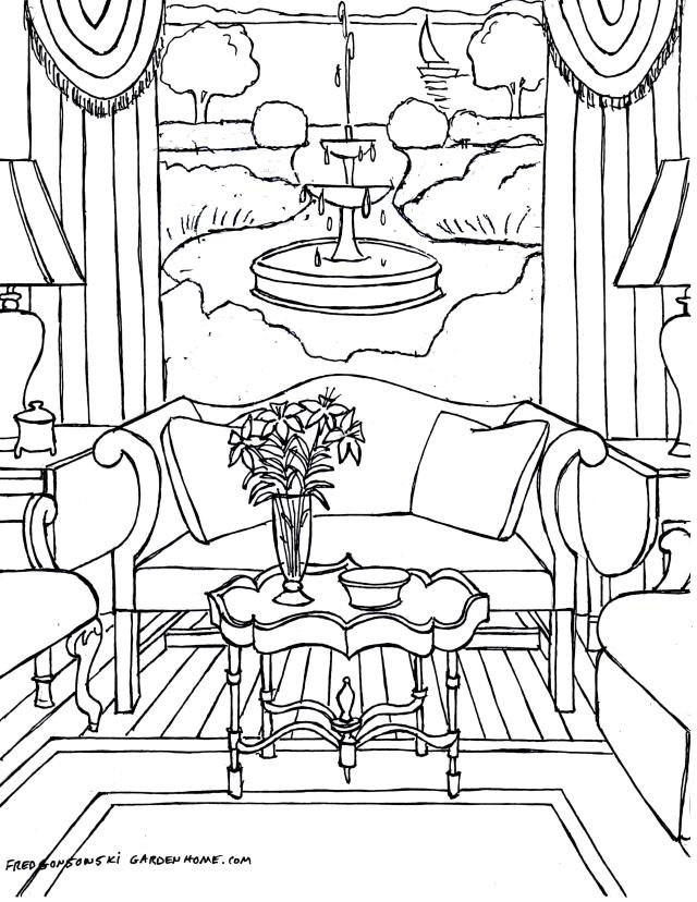 House Room Drawings: Coloring Pages For Adults… Some Drawings Of Living Rooms