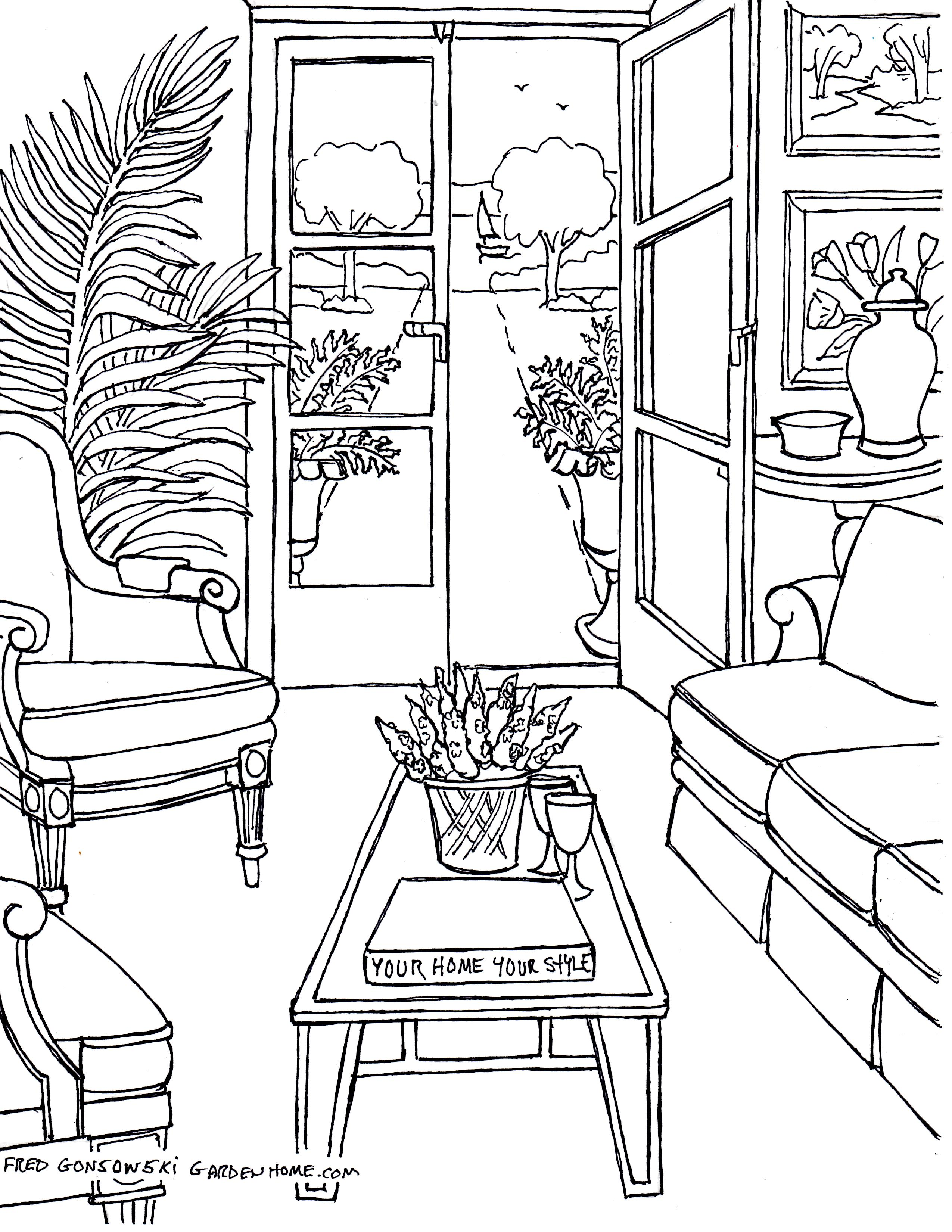 Room Design Free: Coloring Pages For Adults… Some Drawings Of Living Rooms