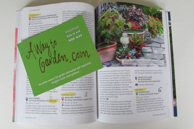 The Garden Conservancy 2016 Directory opened to the June 4th page with description and directions to Margaret's garden, along with her business card.