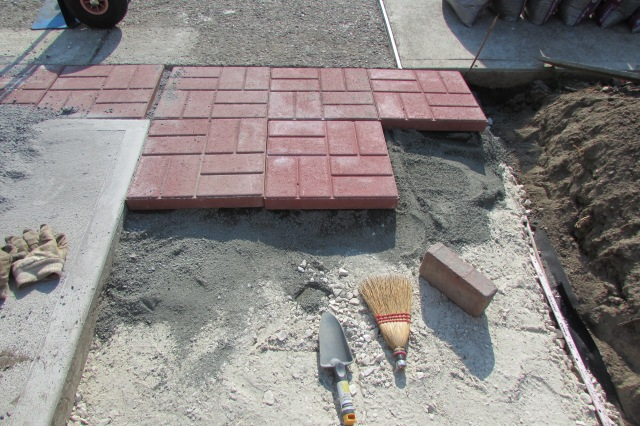 The different products that are laid under paver stones.