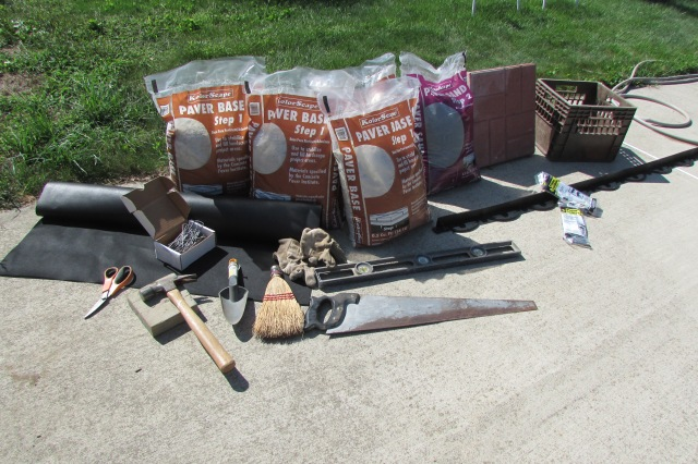 All the supplies I used to lay my cement pavers.