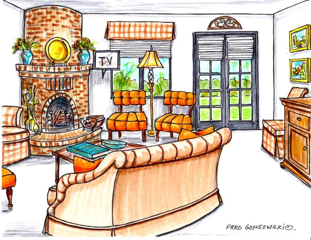 Twelve different ways of arranging furniture in a 20 foot by 20 foot living room with a fireplace in the corner and french doors.