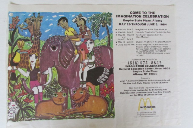 This is a McDonald's tray-liner with the Imagination Celebration Poster image on it. McDonald's were cosponsors of the 1984 Imagination Celebration.