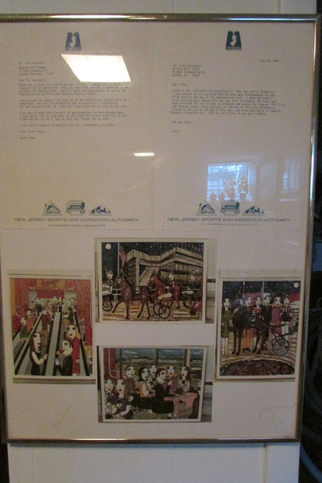 This is a photo of letters from Meadowlands Sports Complex in East Rutherford, New Jersey commissioning the four paintings shown in the photo, that were made to celebration the Hambletonian race, which is the Kentucky Derby of Harness Racing.